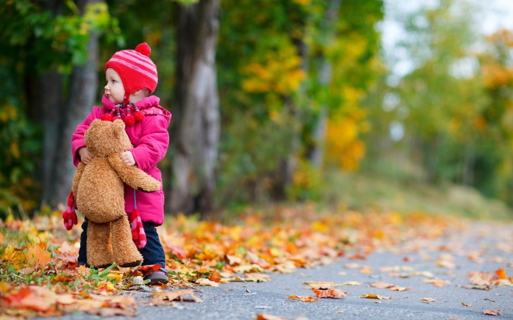 child-girl-bear-toy-autumn-leaves-nature-photo-hd-wallpaper